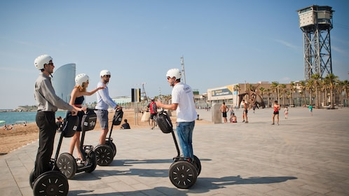 Segway riding group near the beach in Barcelona