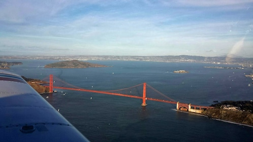 View of Golden Gate Bridge from airplane