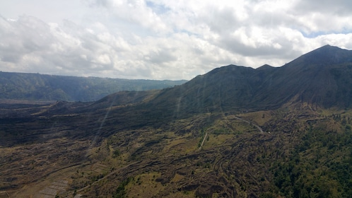 view of the green and mountainous landscape in Bali