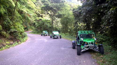 dune buggies climbing up a winding road in Saint Lucia