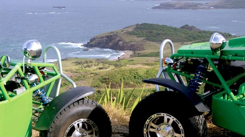 dune buggies on top of the mountain in Saint Lucia