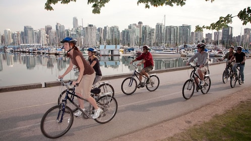 Biking along the bay in Vancouver