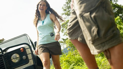 vehicle passengers set off on a hiking adventure in Saint Lucia