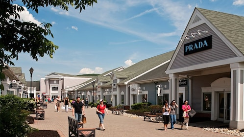 shopping at the Woodbury Commons on a sunny day in New York