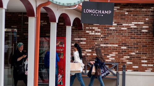 Outside the Longchamp store at the Woodbury Common Outlet Shopping Mall