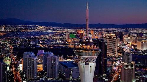 the illuminated cityscape of Las Vegas at night