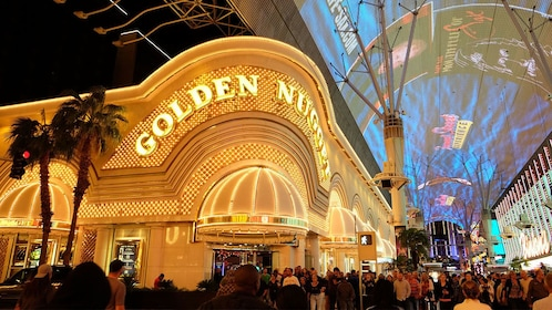 the crowded street outside the Golden Nugget in Las Vegas