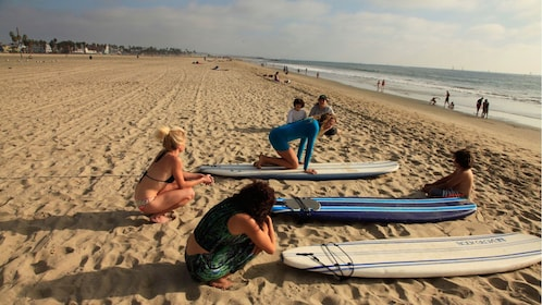 Surfers on the beach in Santa Monica