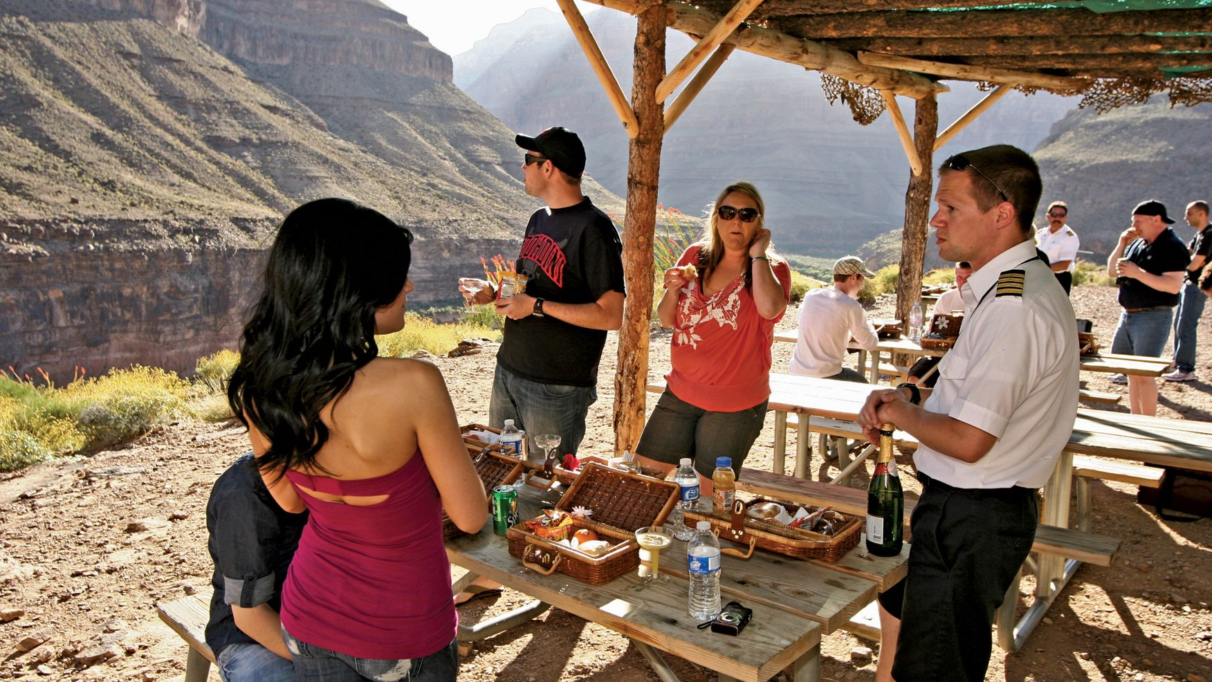 people eating at picnic table in nevada