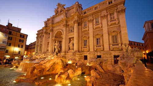 Stunning night view of Trevi Fountain in Rome