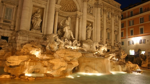 Close view of Trevi Fountain in Rome