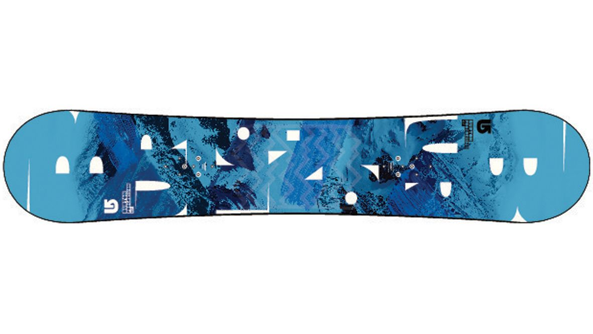 Snowboard with an imprinted mountain slope decoration
