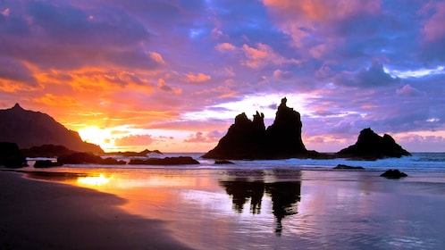 Rock formations along the coast at sunset in Tenerife