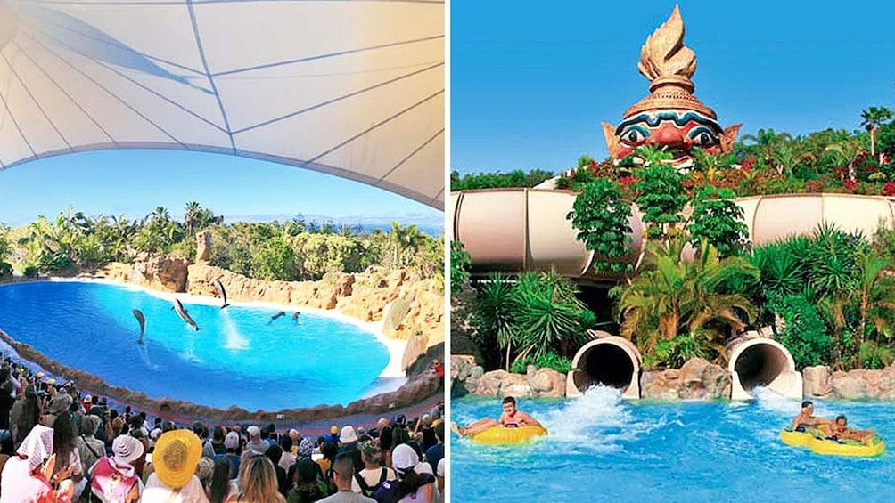 Indlæs billede 1 af 5. Combo image of amusement parks in Tenerife