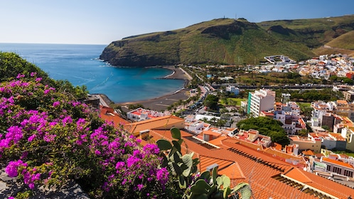 Looking down at the city along the coast in La Gomera