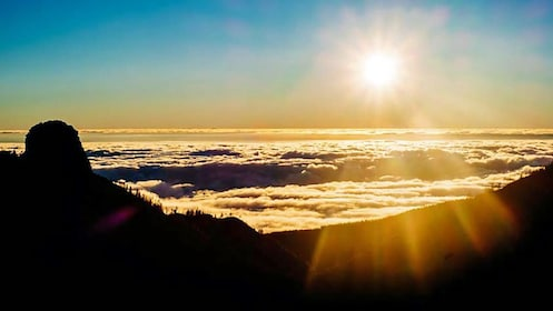 View of the sunset from a mountain in Tenerife