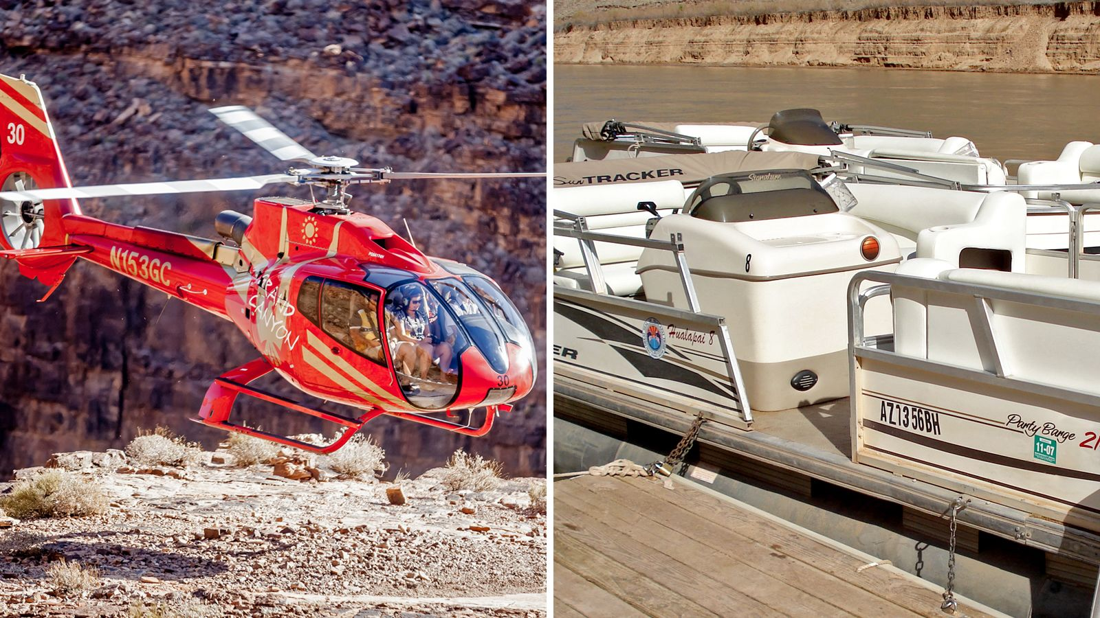 Combo image of helicopter flight and Pontoon boat in Grand Canyon