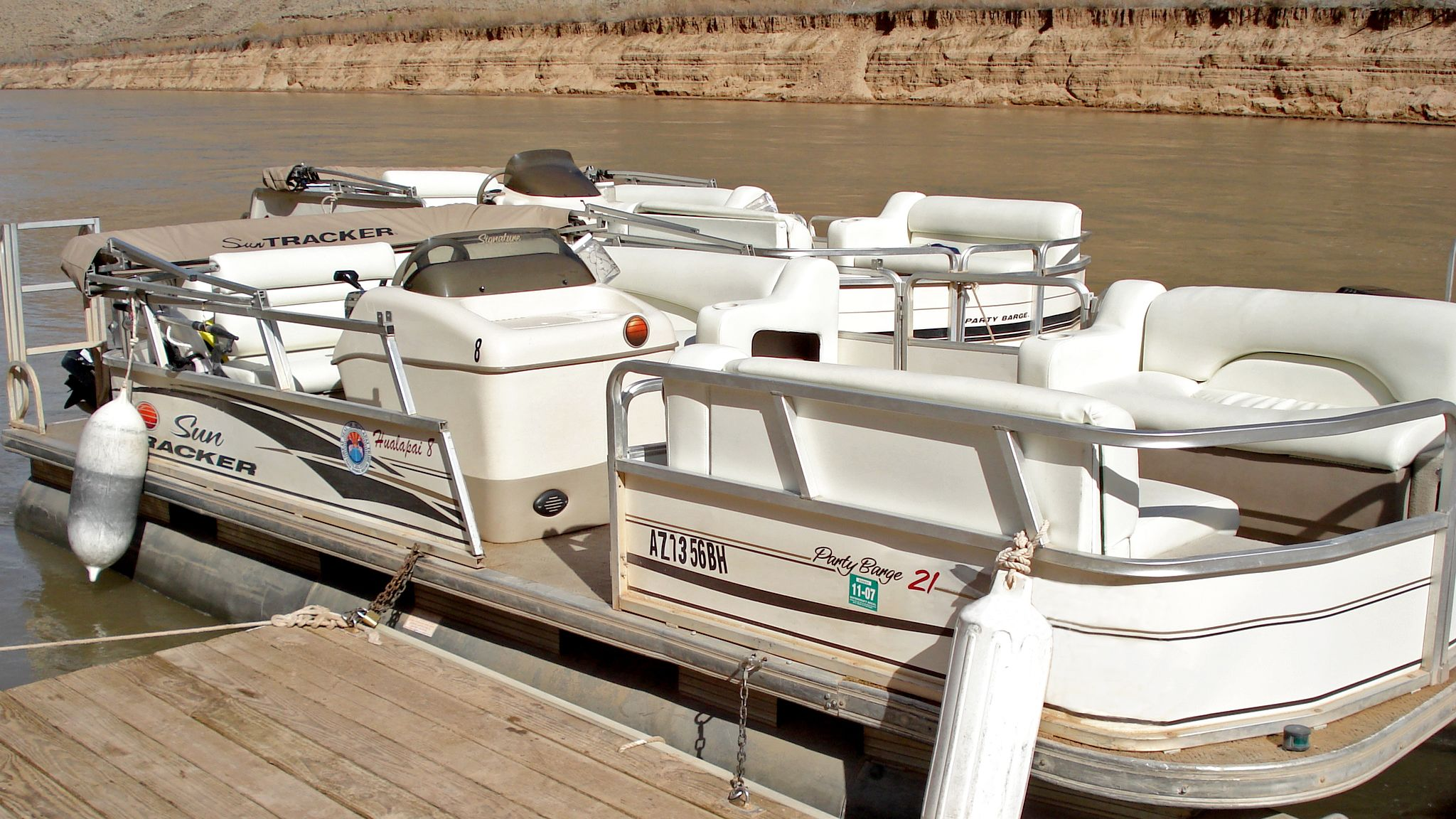 View of Pontoon boat on Colorado River