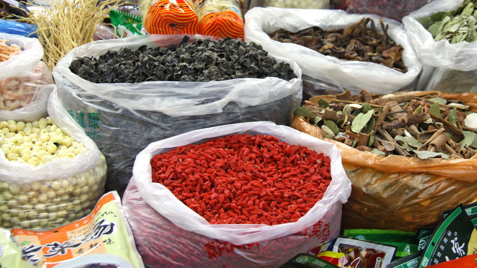 Bags of Chinese spices