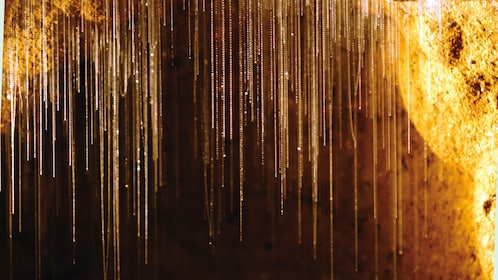 Glittery stalagtites hanging from cave
