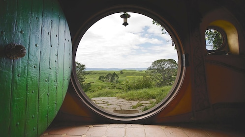 View looking out the front door of Bag End to the outside