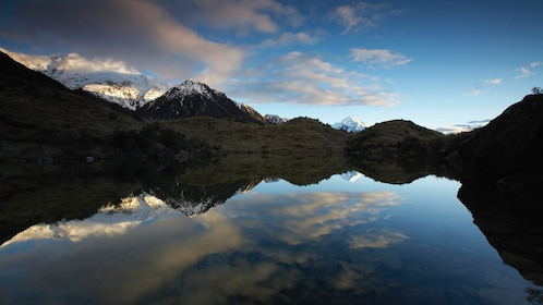 Mountains reflected on a lake