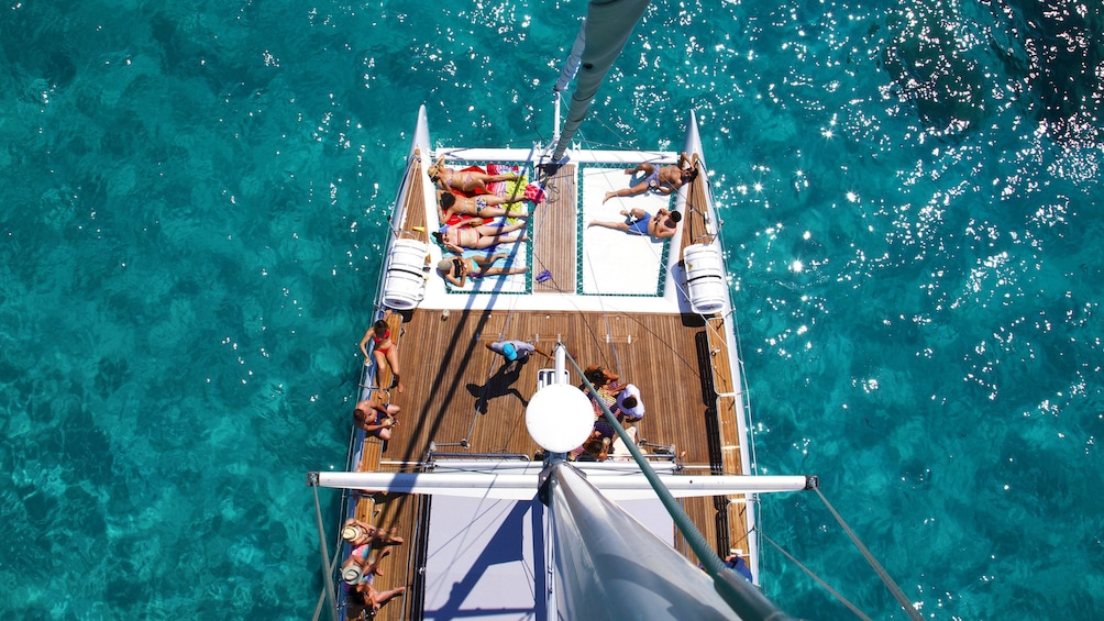 View from Crows nest down on deck of Catamaran