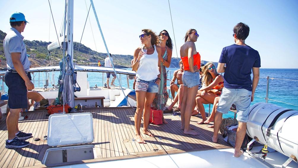People on the deck of Catamaran