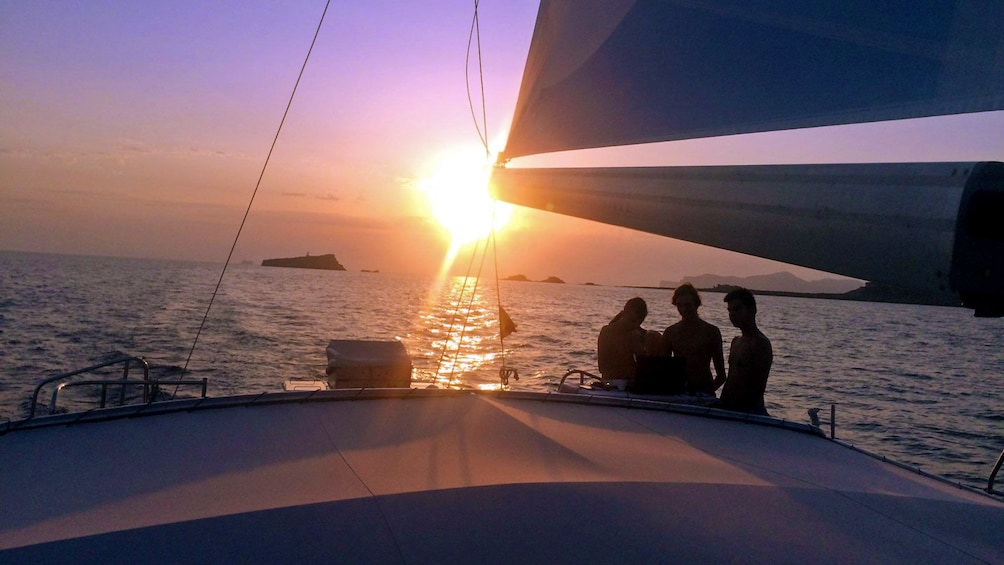 Sunset from the deck of a catamaran