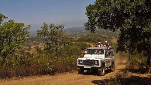 Jeep on dusty road in Portugal