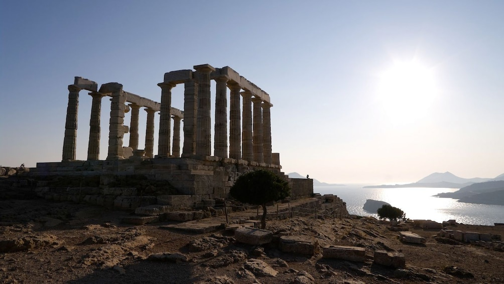 ruins of stone columns in greece