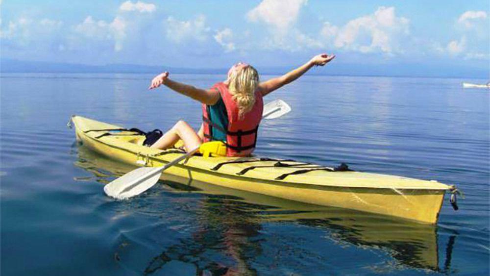 Woman kayaking in Costa Rica