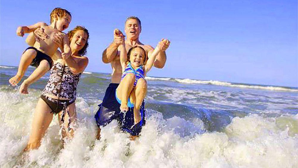 Family enjoying the beach in Costa Rica