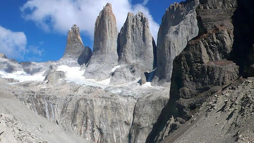 Close view of the base of the Torres del Paine Towers in Puerto Natales