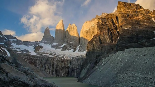 Sunset view of the base of the Torres del Paine Towers in Puerto Natales