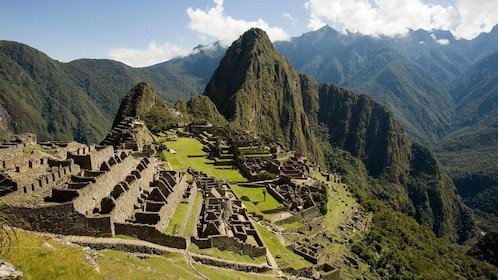 Aerial view of the ancient ruins of Machu Picchu