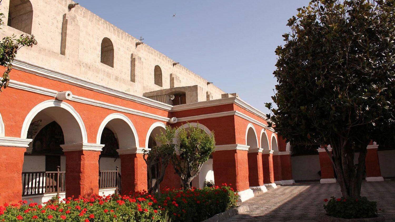 Arched walkway of a church in Peru