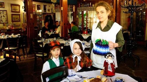 having lunch inside a restaurant in Argentina