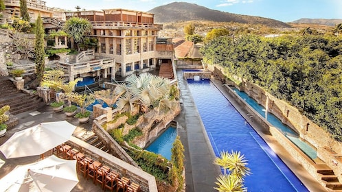 The hot springs offer twelve thermal pools and an authentic spa