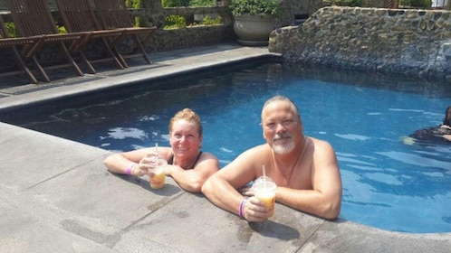Couple enjoying an afternoon in the hot springs