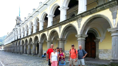 Tour group outside of historical site in Antigua