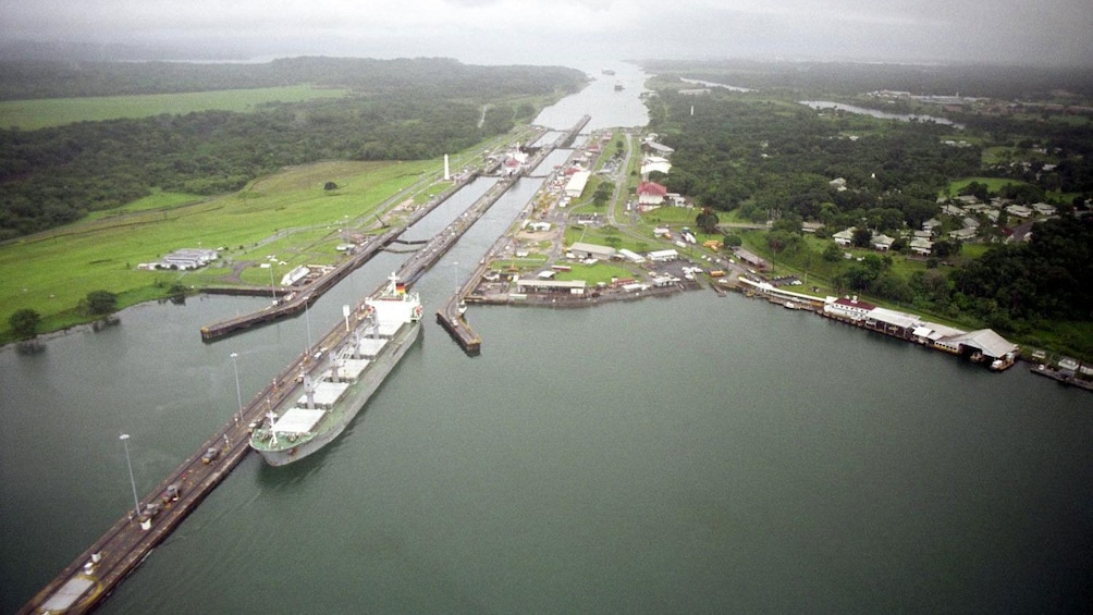 Show item 1 of 8. Aerial view of the Panama Canal