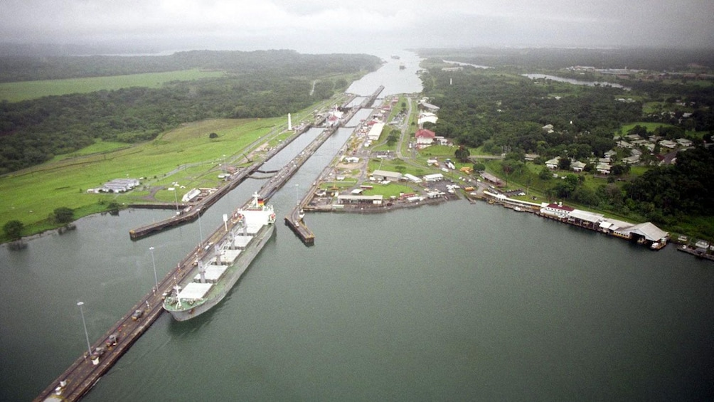 Show item 8 of 8. Aerial view of Panama Canal