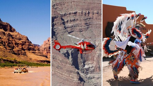 combo image of river helicopter and native dancing