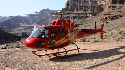 helicopter parked near canyon