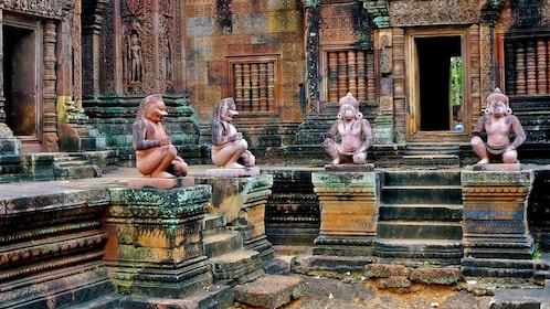 interior of stone temple in Siem Reap
