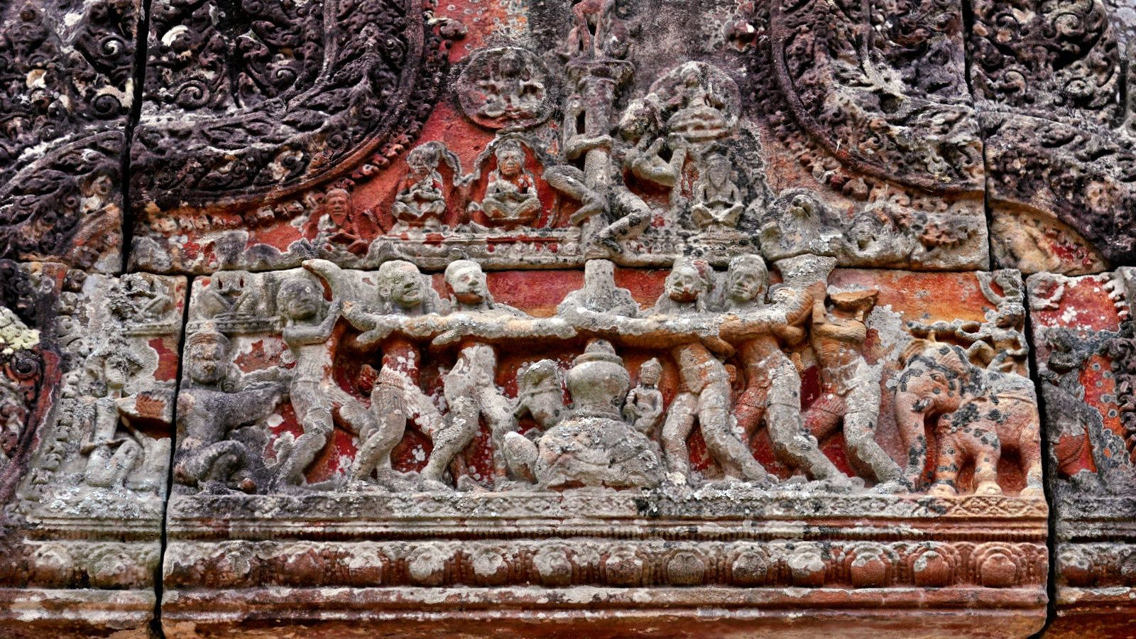 ornate carved mural at temple