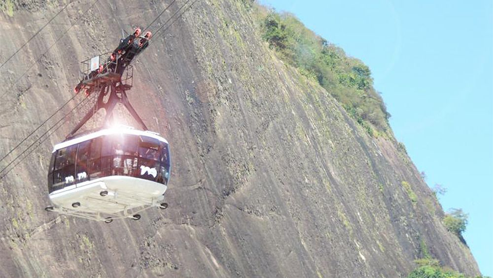 Close view of a cable car to Morro de Urca and Sugar Loaf Mountain