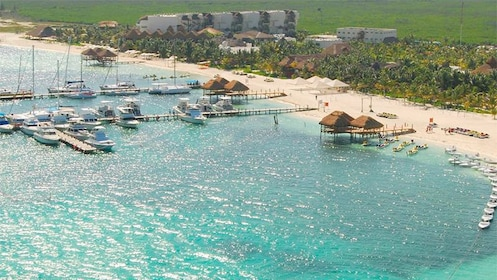 Aerial view of the beachfront in Cancun