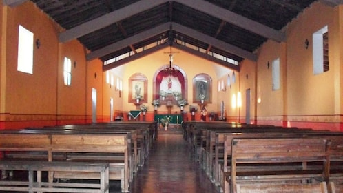 Inside a traditional Catholic church in Ixtapa